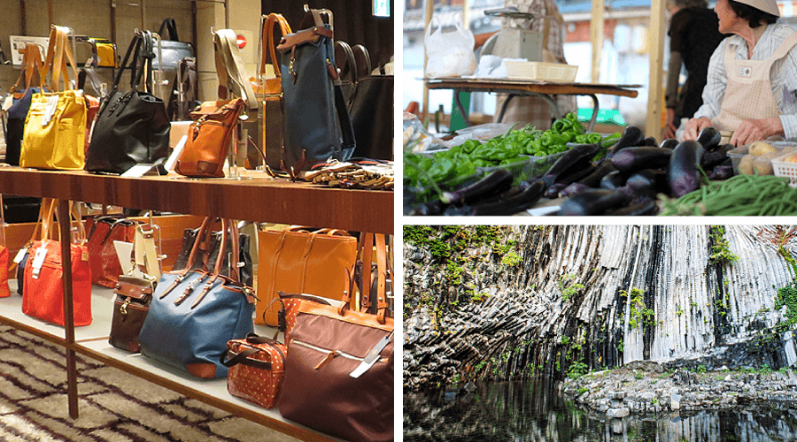 Toyooka Sightseeing Toyooka Kaban Bag, morning market, Genbudo Caves